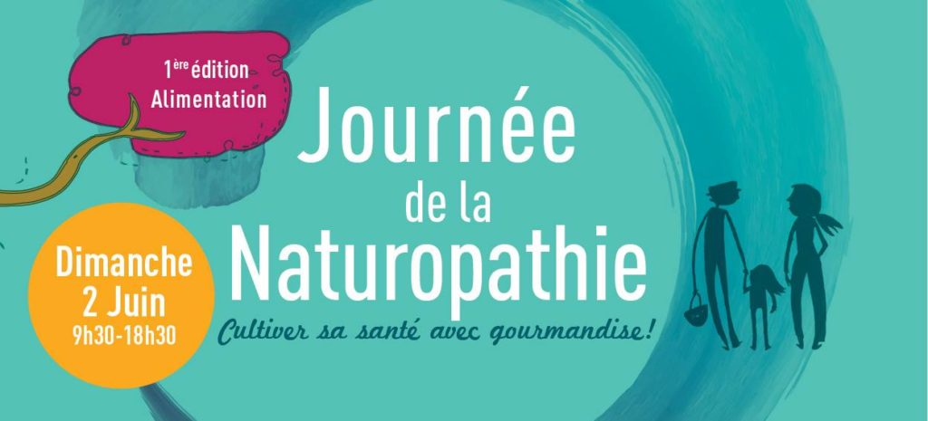 """Bandeau de l'affiche de la journée de la naturopathie, annonçant la date et le thème """"Cultiver sa santé avec gourmandise !"""""""