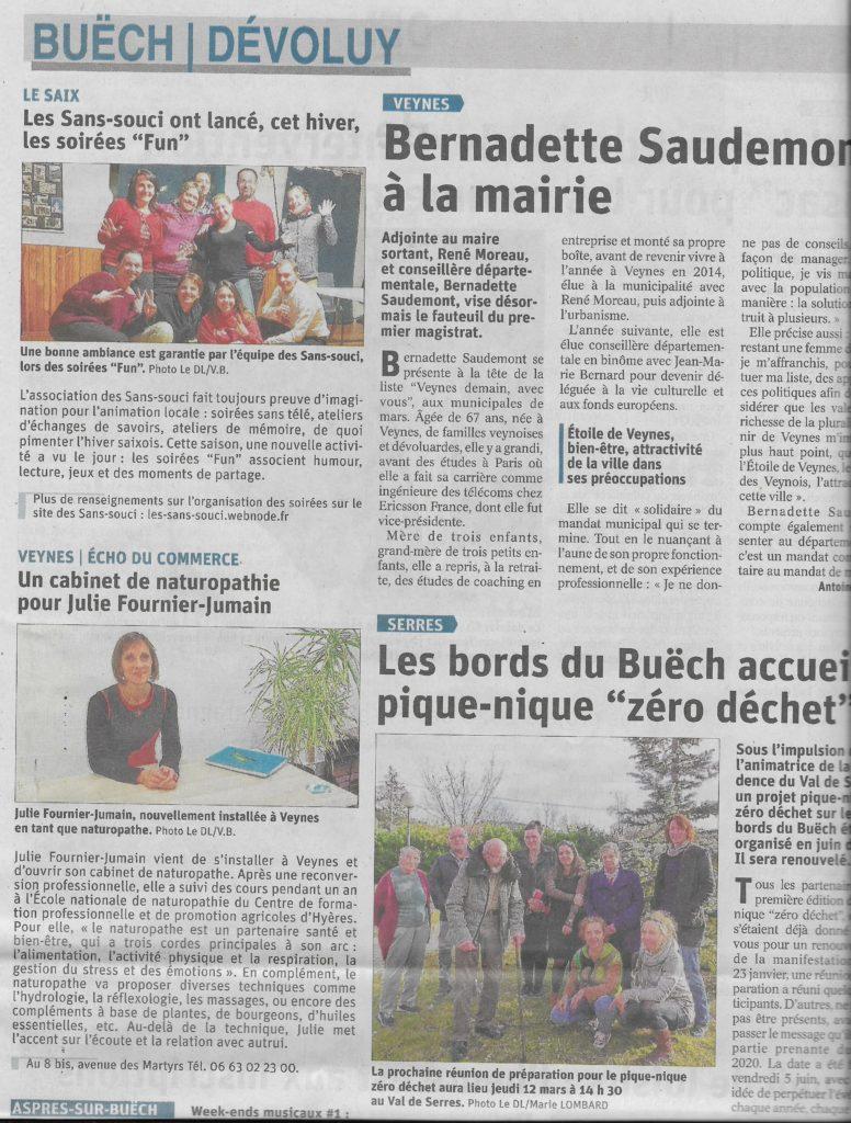Page d'articles du Dauphiné Libéré