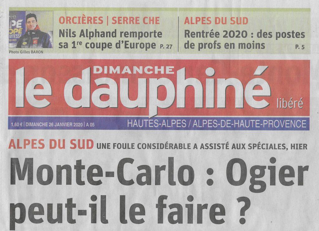 La une du Dauphiné Libéré