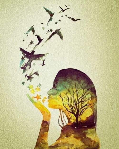 Dessin peint d'un visage de profil qui souffle des étoiles qui se transforment en oiseaux.