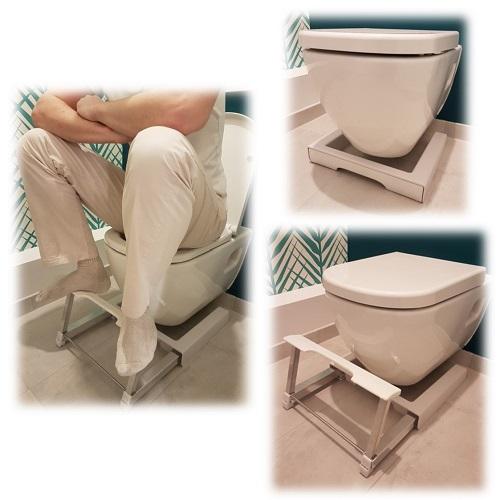 Photos in situ marche-pied du lutin pour adopter la position naturelle aux toilettes