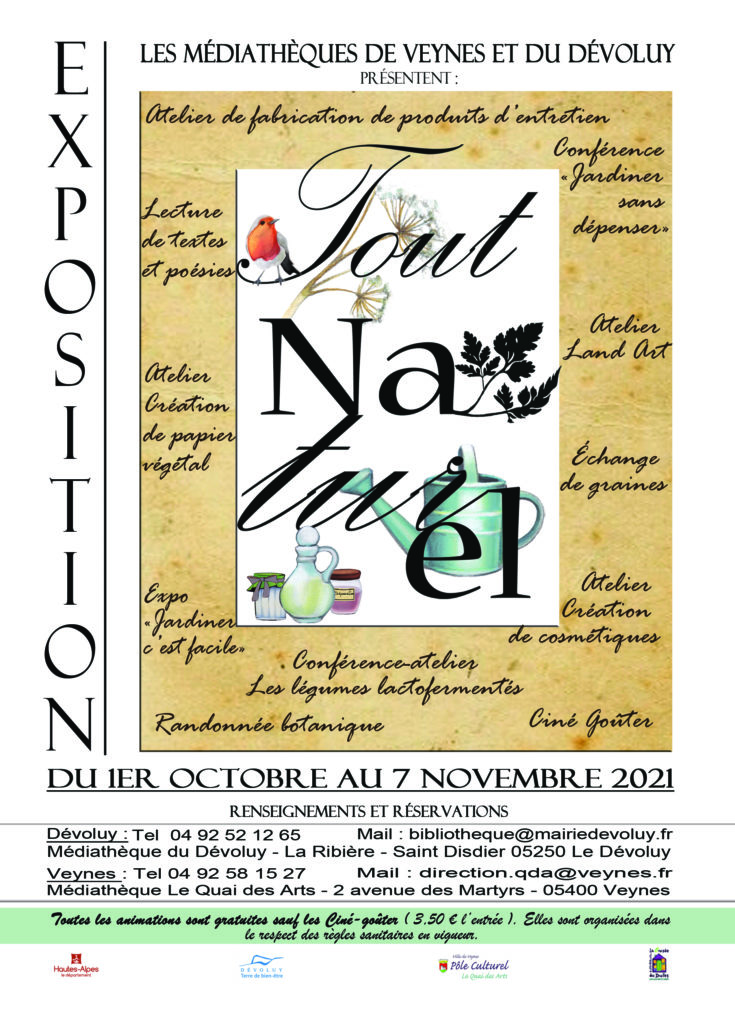 """Affiche de la manifestation """"Tout Naturel"""", organisée par les médiathèques de Veynes et du Dévoluy"""