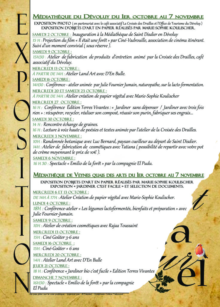 """Programme de la manifestation """"Tout Naturel"""", organisée par les médiathèques de Veynes et du Dévoluy"""